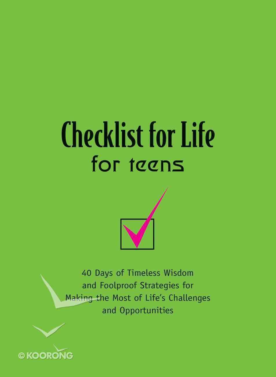 For Teens (Checklist For Life Series) eBook