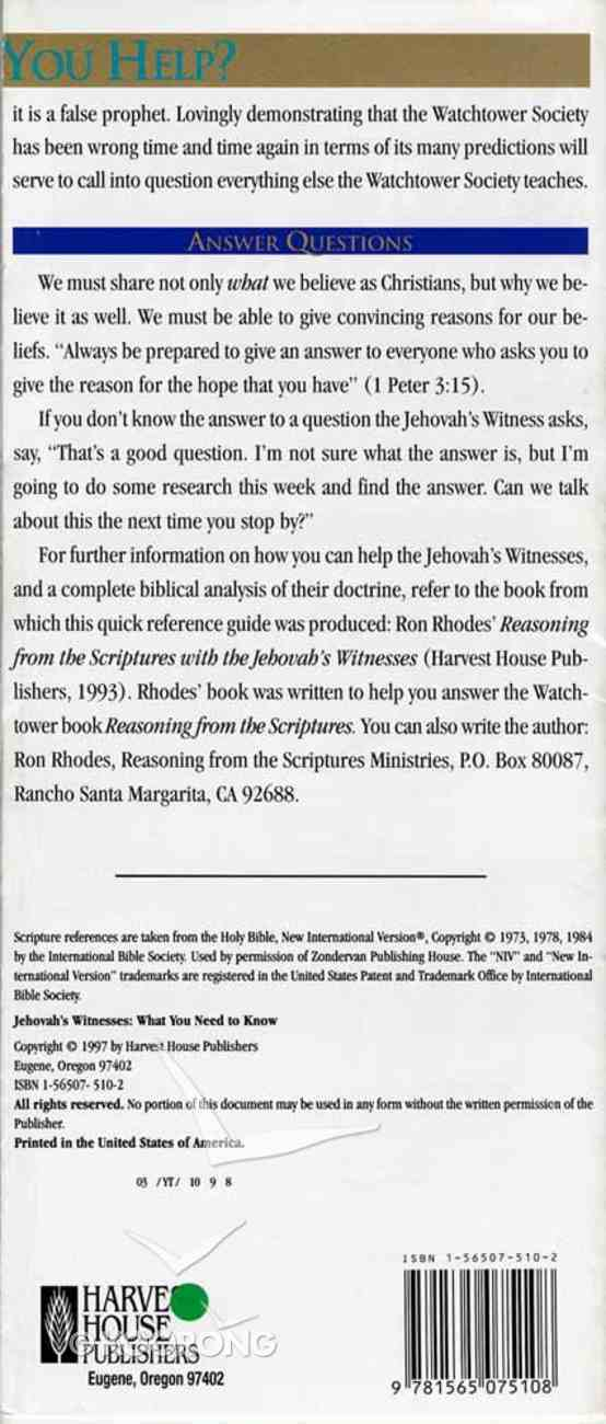 What You Need to Know: Jehovah's Witnesses Paperback