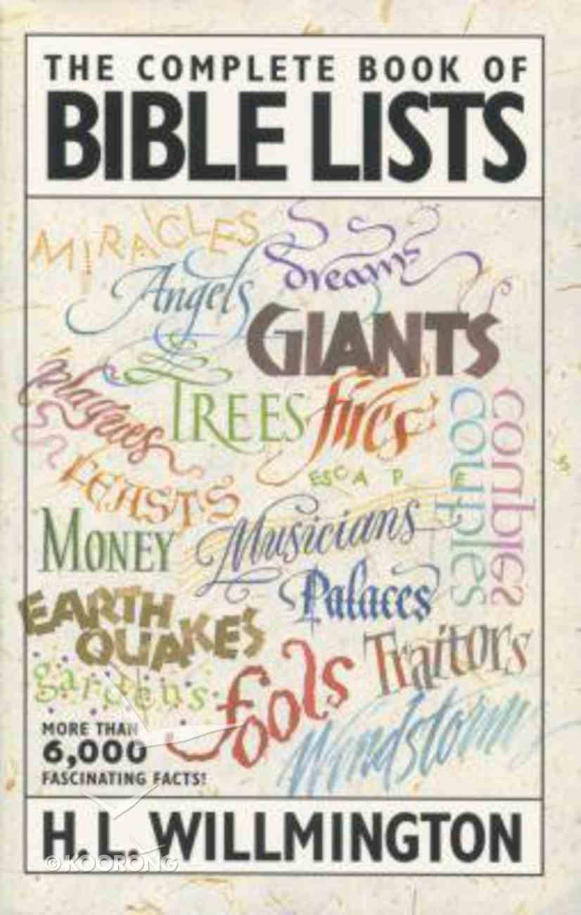 The Complete Book of Bible Lists Paperback
