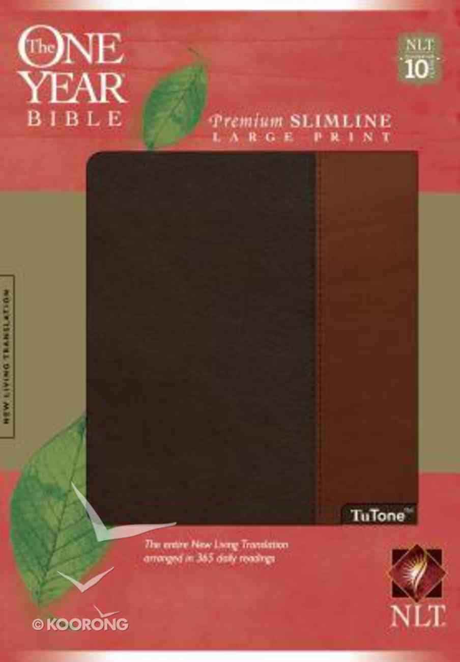 NLT One Year Bible Premium Slimline Large Print Brown/Tan Imitation Leather