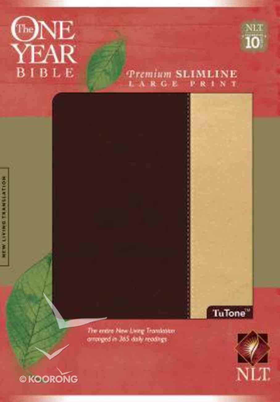 NLT One Year Bible Premium Slimline Large Print Port/Beige Imitation Leather