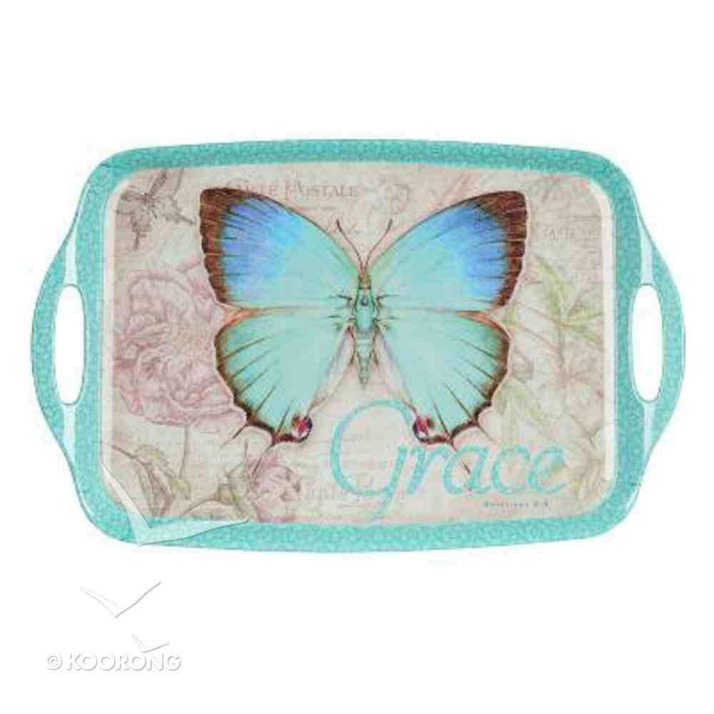 Serving Tray With Handles: Grace Butterfly Blue/Green) Homeware