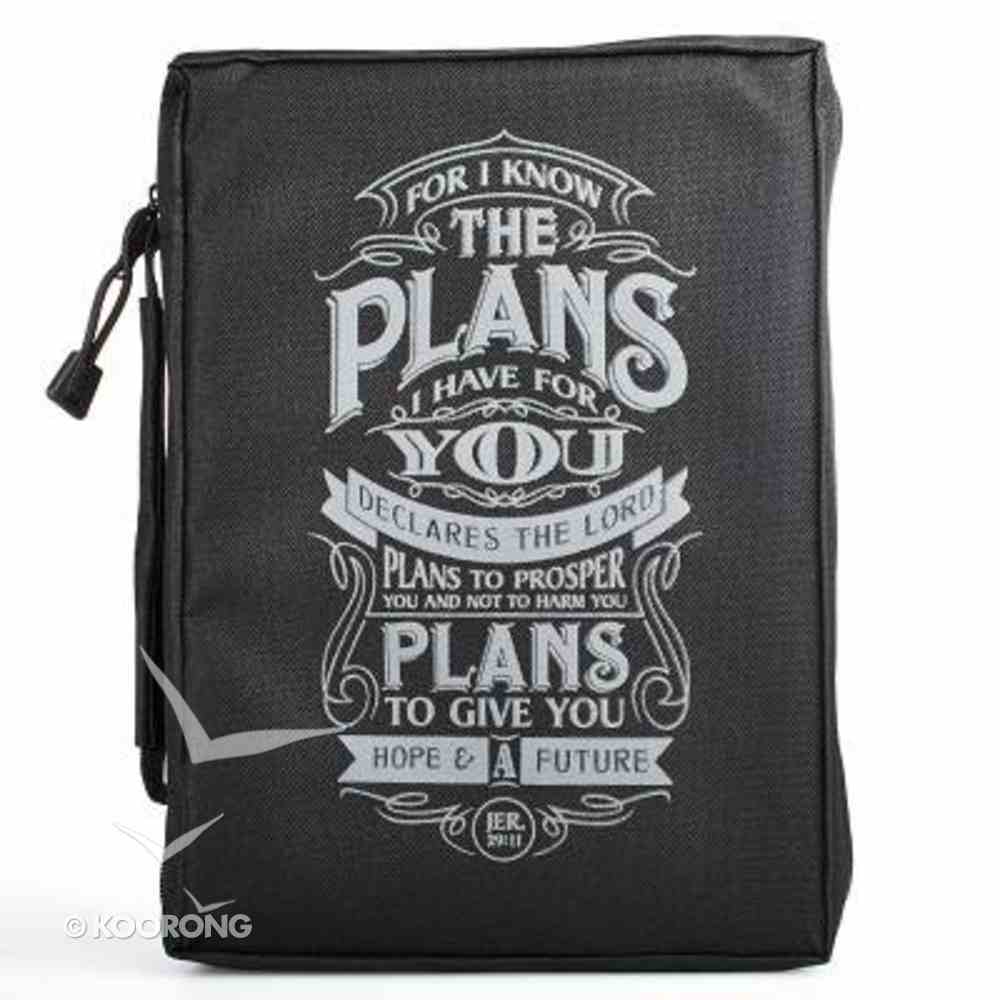 Bible Cover I Know the Plans Black Medium Poly-Canvas Bible Cover