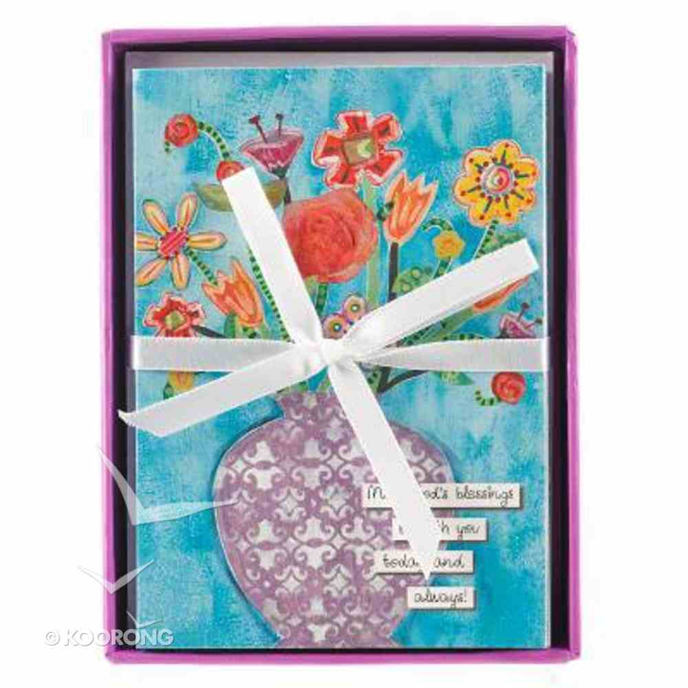 Floral Blessing Boxed Cards: Vase of Flowers, Turquoise (Ecc 3:11) Box