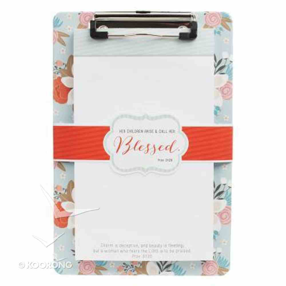 Clipboard With Notepad: Blessed, Red/Flowers (Prov 31:28) Stationery