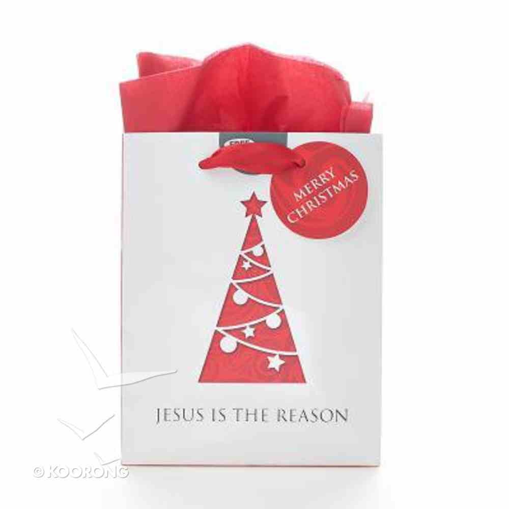 Christmas Gift Bag Small: Reason Tree With Tissue Paper & Gift Tag Stationery