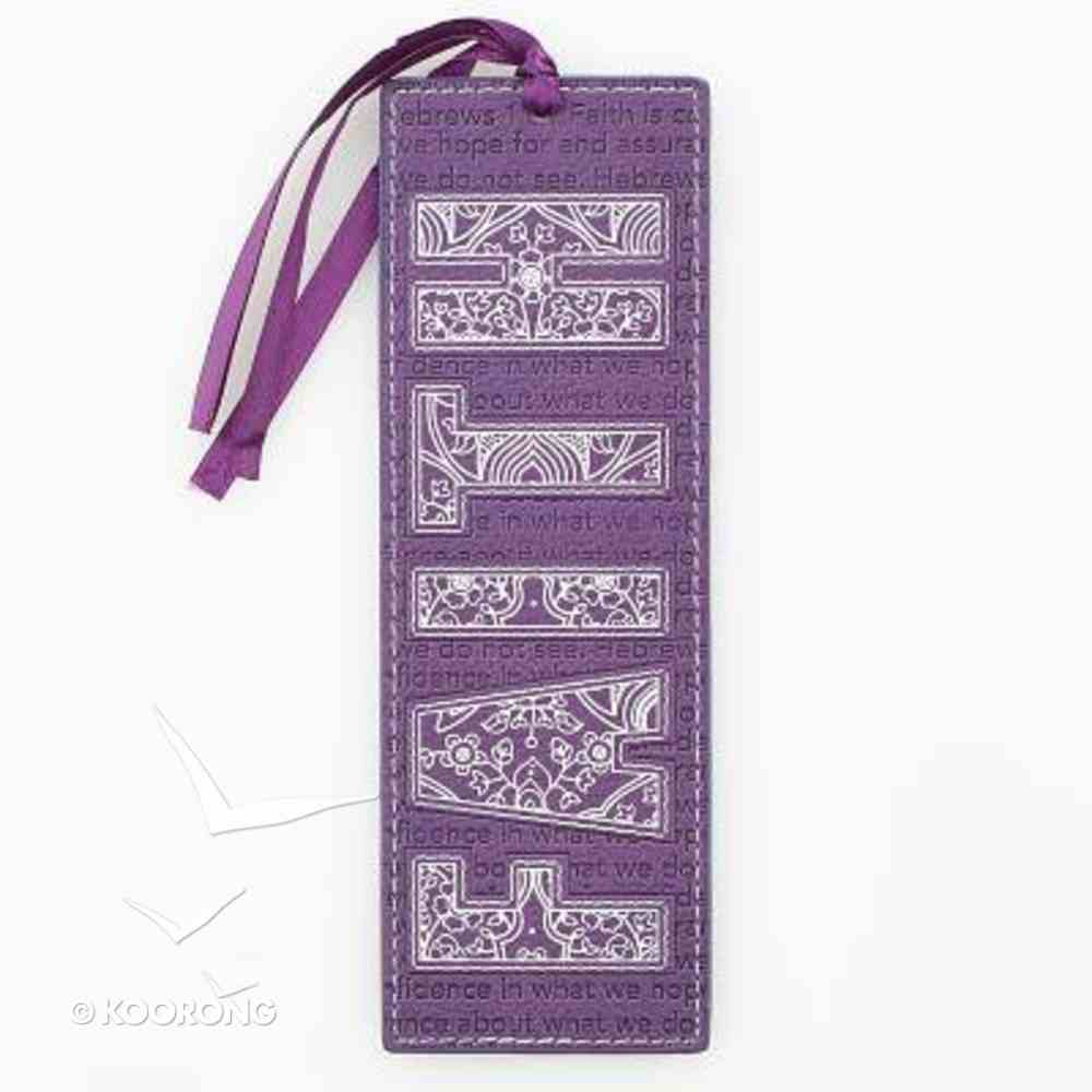 Bookmark With Tassel: Faith Purple Imitation Leather