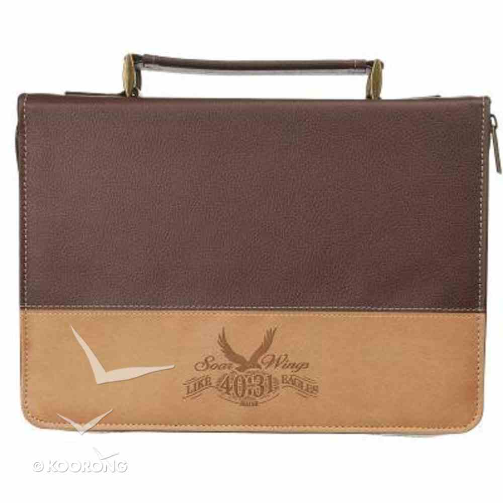 Bible Cover Classic Medium: Eagles' Wings Beige/Dark Brown Bible Cover