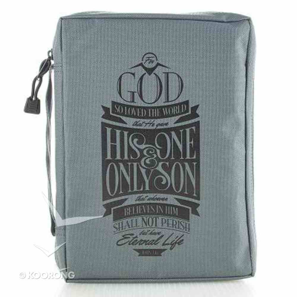 Bible Cover Value Large: John 3:16 Grey Bible Cover