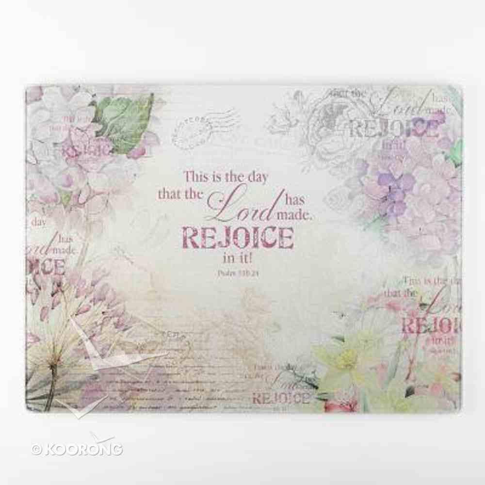 Large Glass Cutting Board: Rejoice, Purple/Flowers (Ps 118:24) Homeware