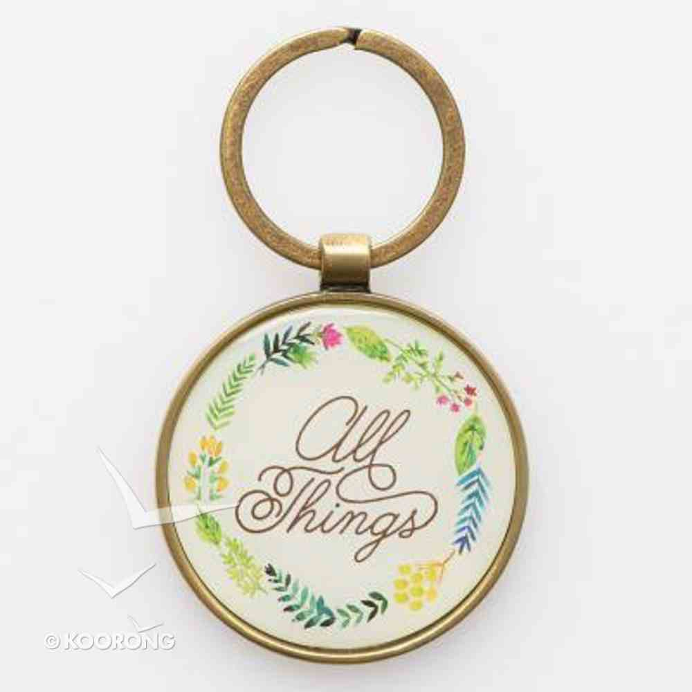 Keyring in Tin: All Things Matt 19:26 (Colored Wreath) Jewellery