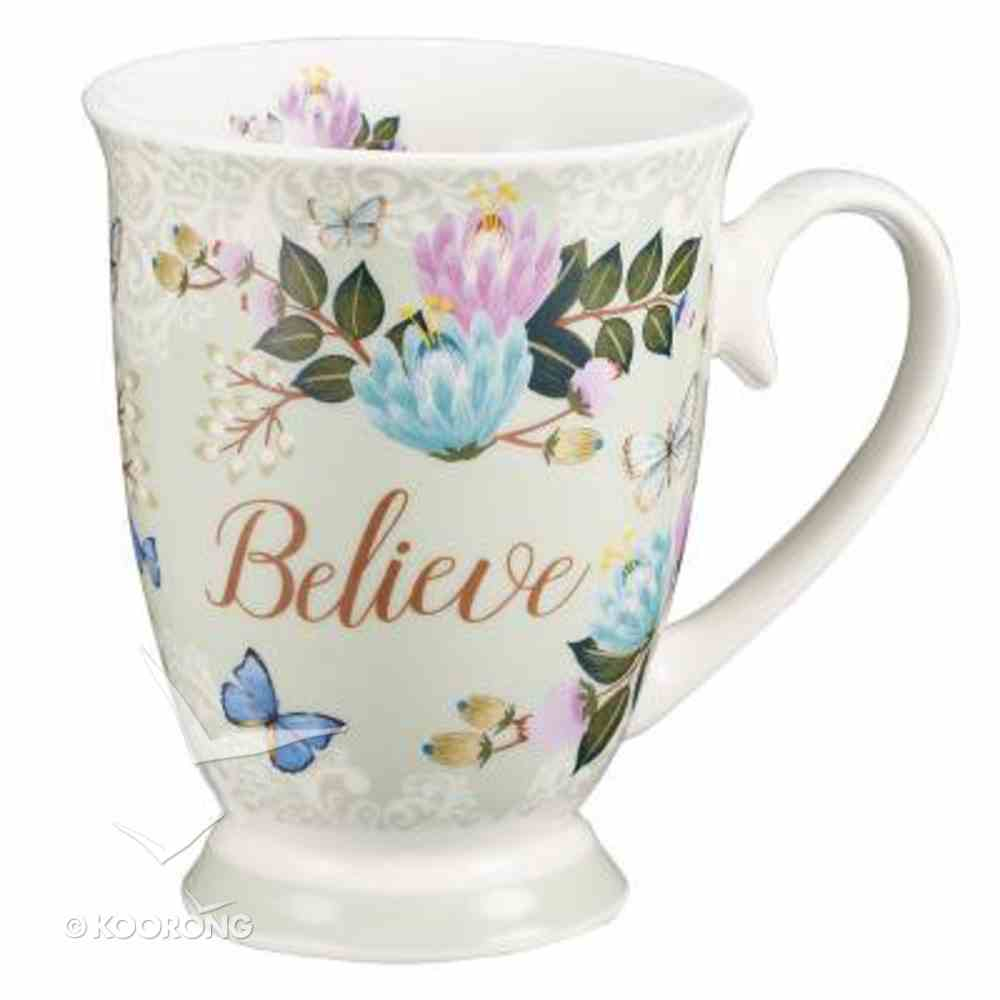 Ceramic Mug & Coaster in Tin: Believe (Pale Green/flowers/butterflies) Homeware