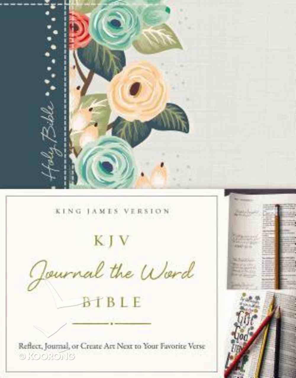 KJV Journal the Word Bible Green Floral (Red Letter Edition) Hardback