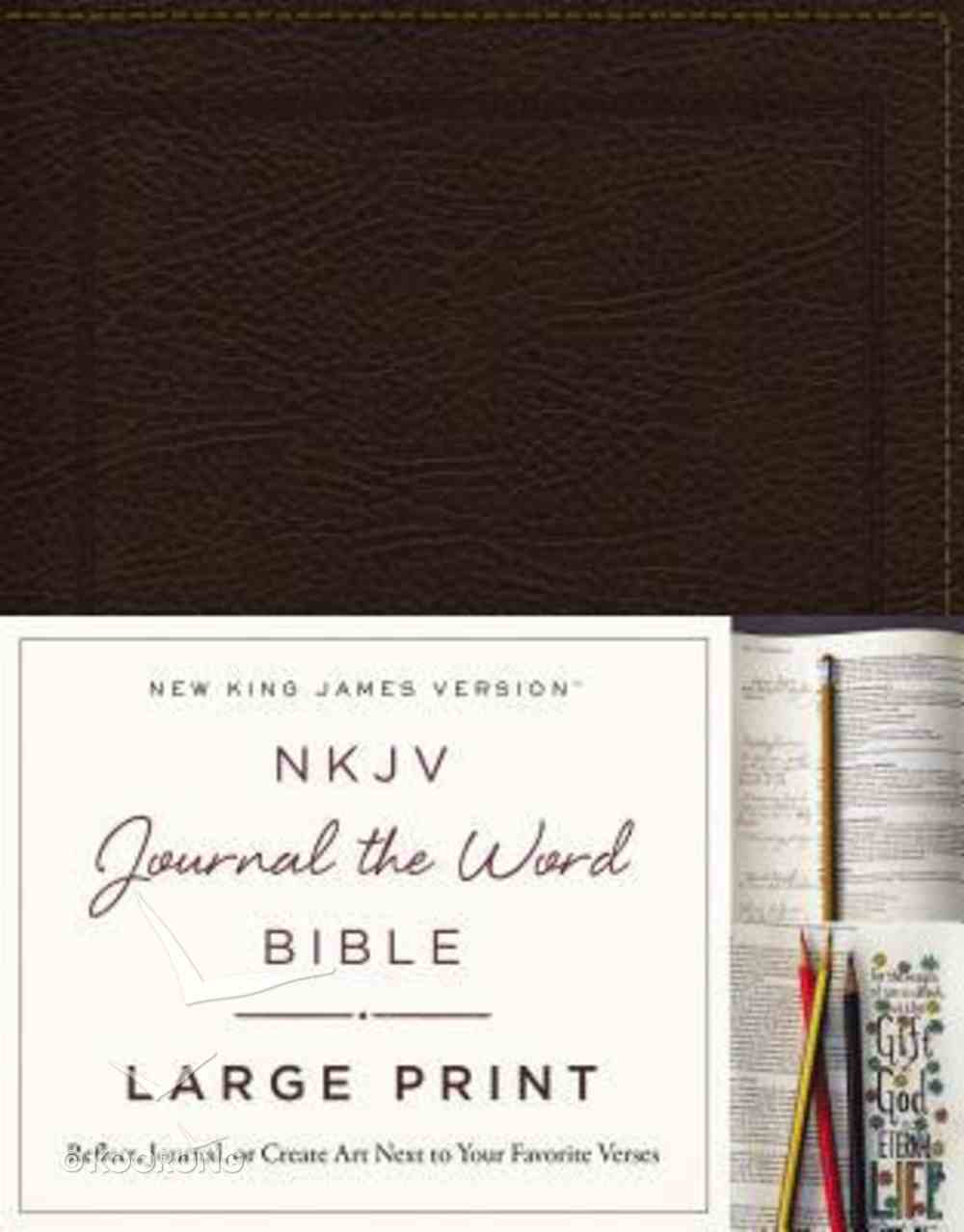 NKJV Journal the Word Bible Large Print Brown (Red Letter Edition) Bonded Leather