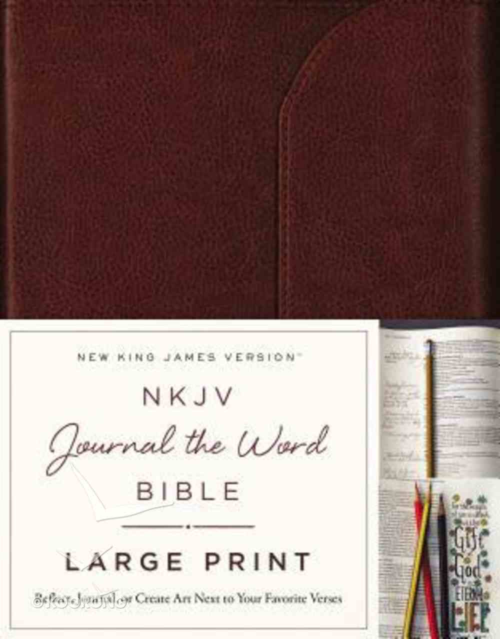 NKJV Journal the Word Bible Large Print Brown (Red Letter Edition) Genuine Leather