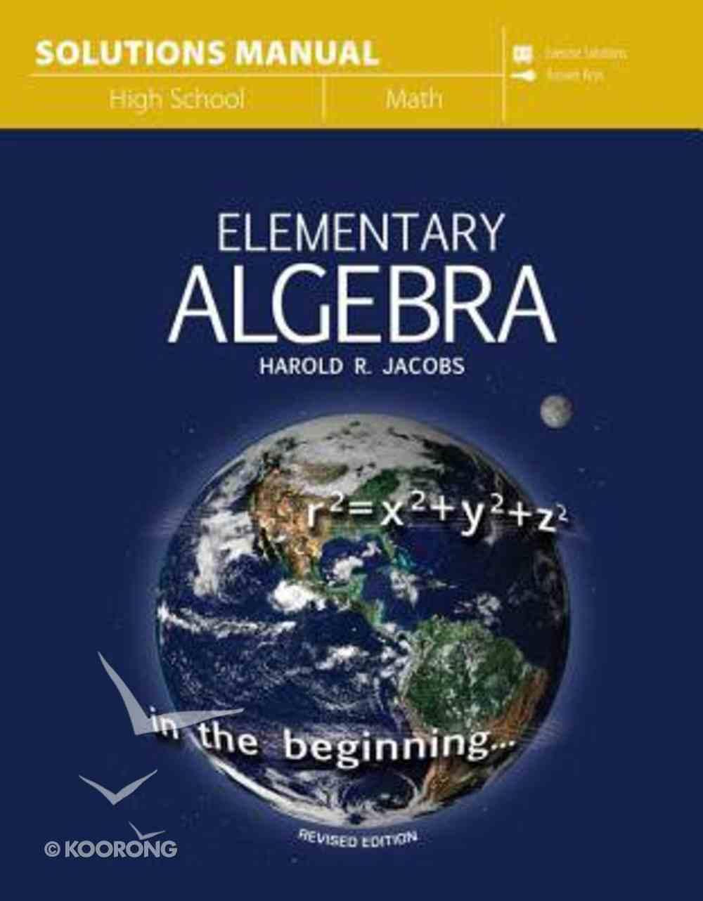 Elementary Algebra Solutions Manual Paperback