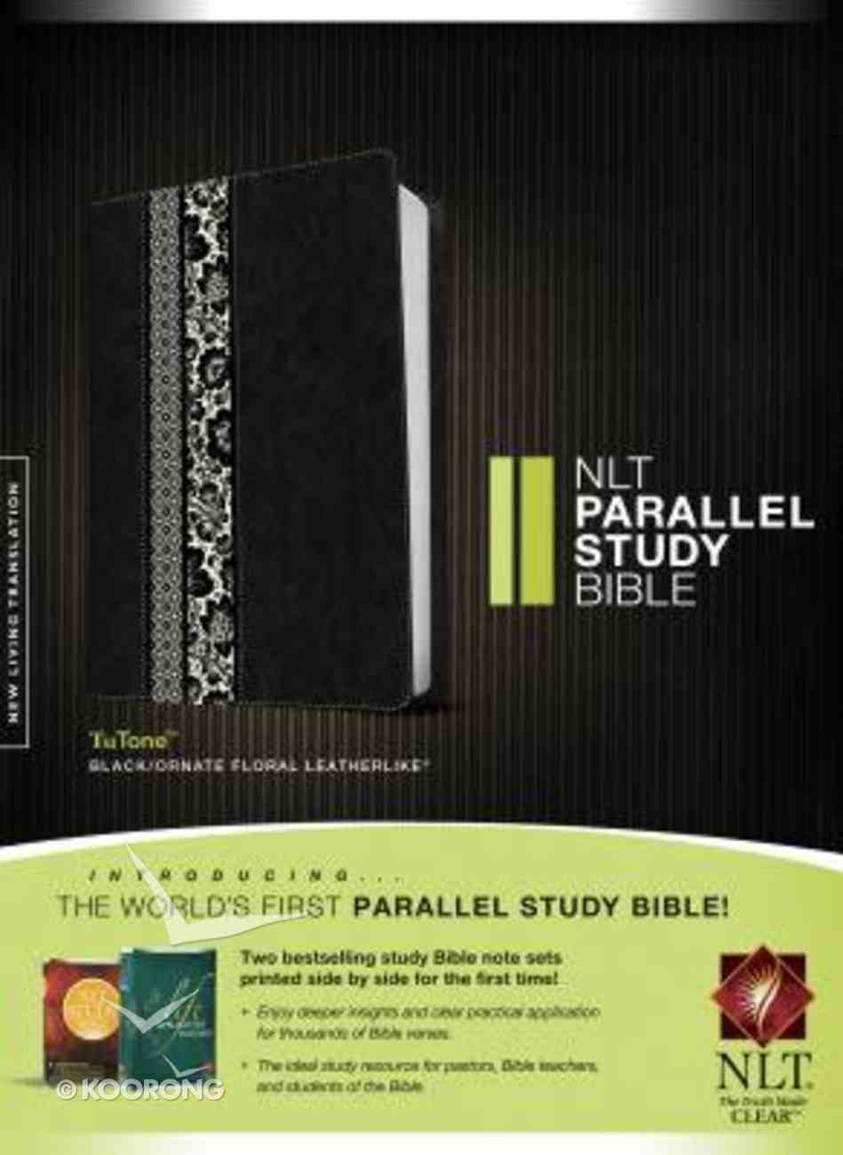 NLT Parallel Study Bible Indexed Black/Ornate Floral (Black Letter Edition) Imitation Leather
