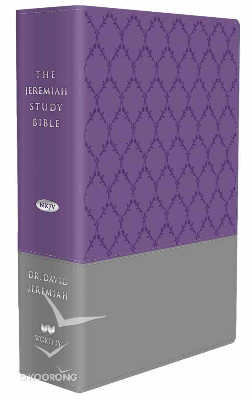 NKJV Jeremiah Study Bible Purple Gray Burnished With Decorative Pattern Leatherluxe Premium Imitation Leather