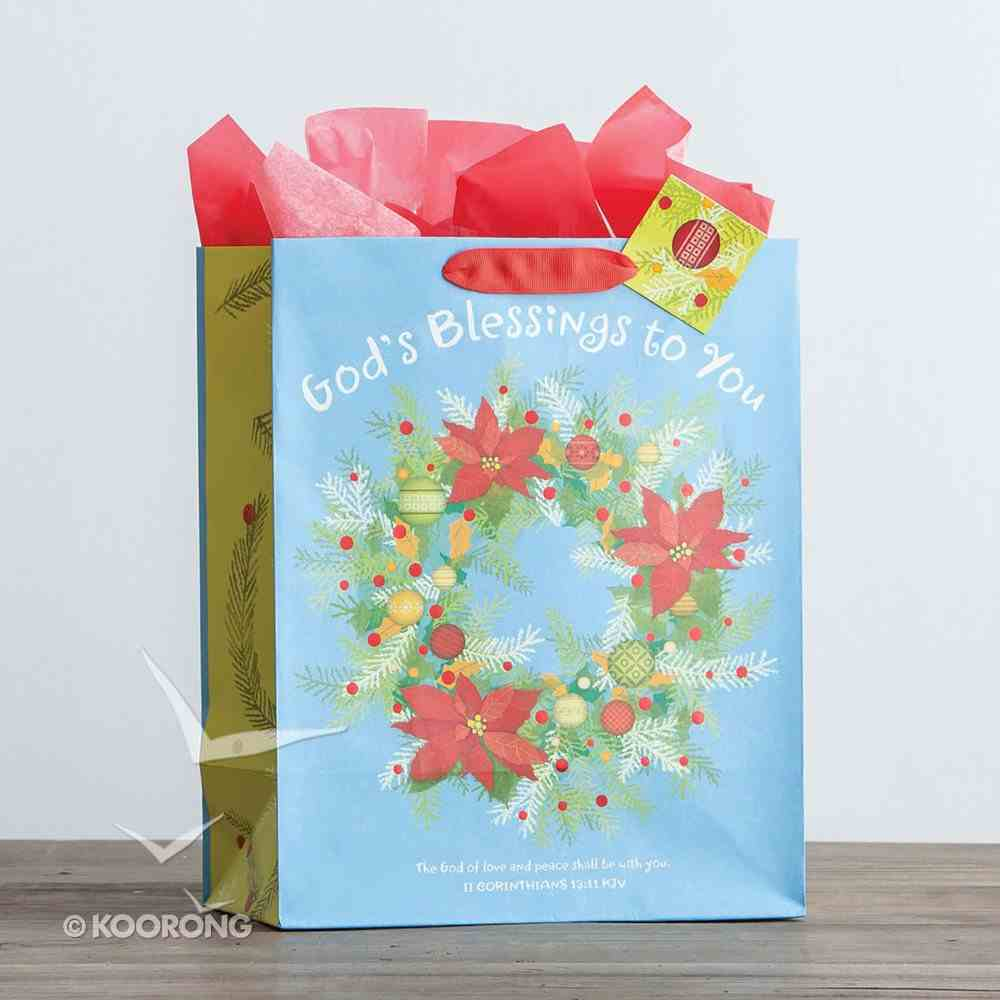Christmas Gift Bag Large: God's Blessings (2 Cor 13:11 KJV) (Incl Tissue Paper & Gift Tag) Stationery
