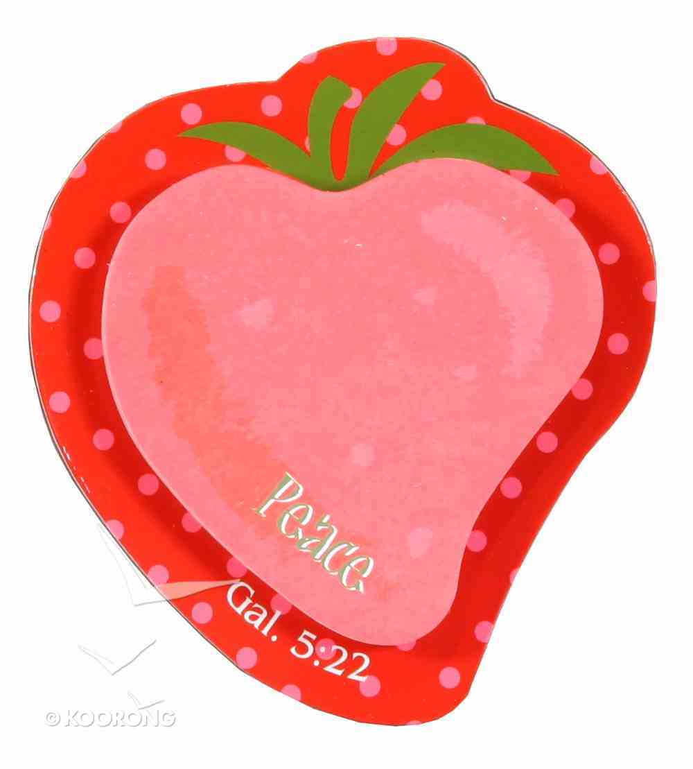 Fruit of the Spirit Sticky Note: Peace Strawberry Red/Pink (Gal 5:22) Stationery