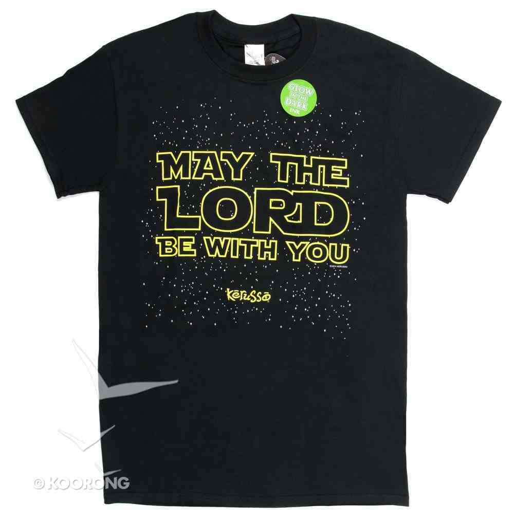 Mens T-Shirt: May the Lord Small Black/Gold (2 Thess 3:16) Soft Goods