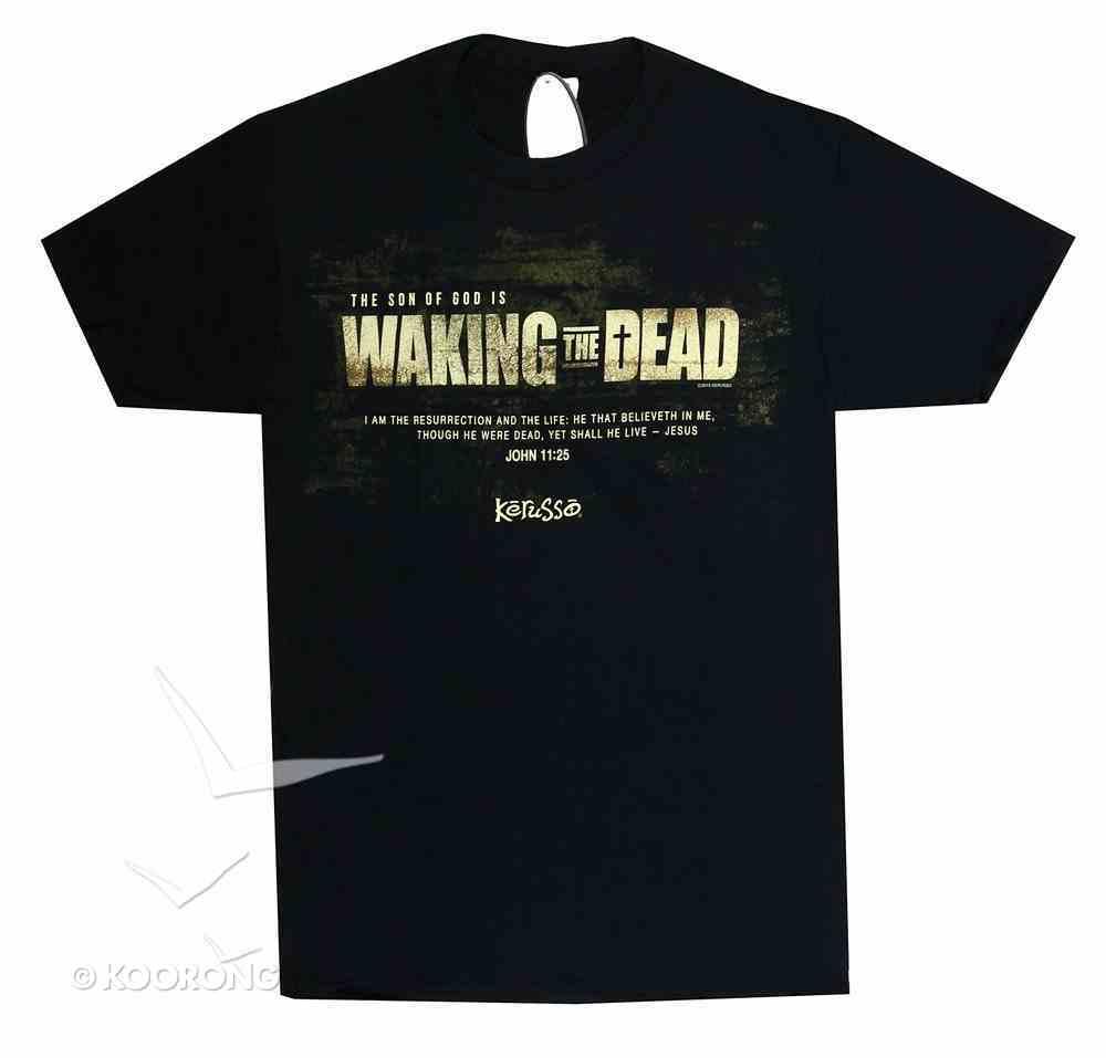 Mens T-Shirt: Waking the Dead Medium Black/White (John 11:25) Soft Goods