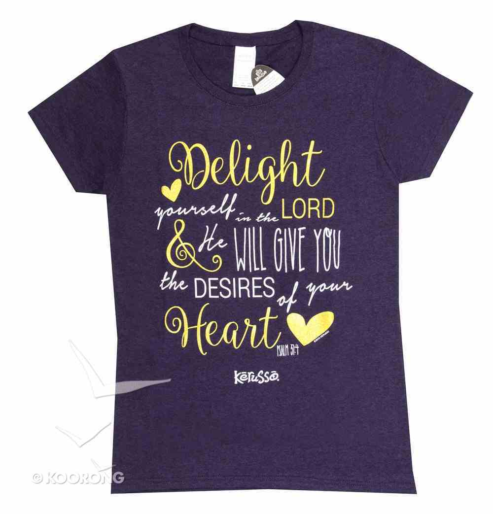 Womens T-Shirt: Delight in the Lord Medium Dark Purple/Gold/White (Missy Cut) Soft Goods