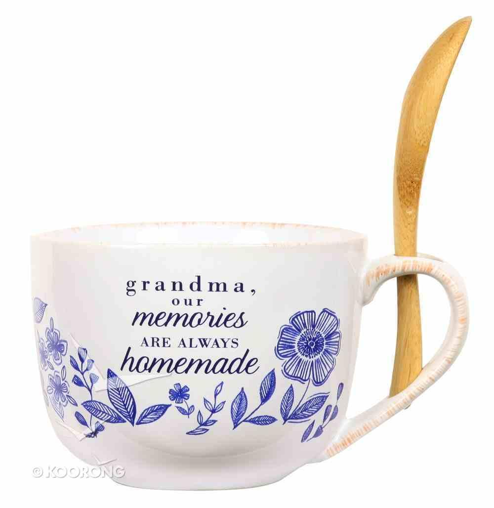 Ceramic Soup Bowl: Grandma (Blue/White/Wooden Spoon) (Eat Share Love Series) Homeware