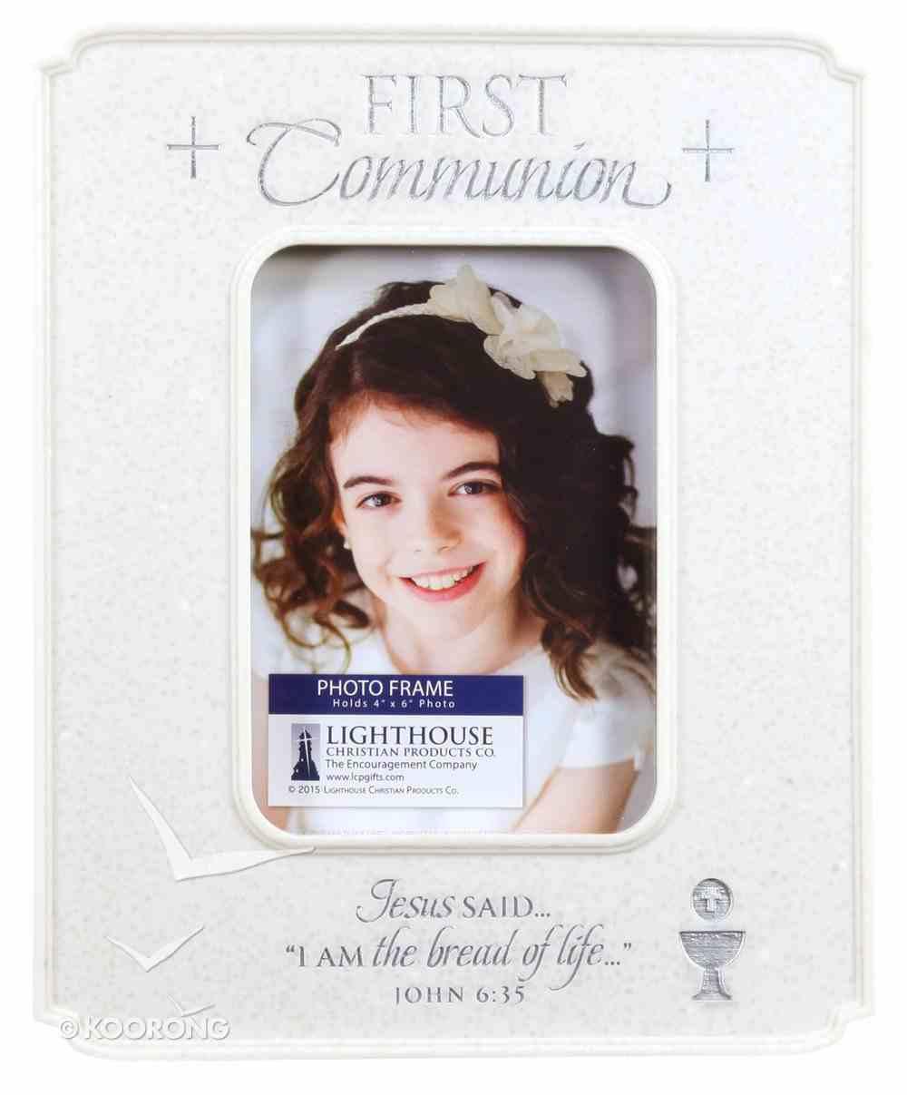 Photo Frame Cast Stone: First Communion Desktop (John 6:35) Homeware