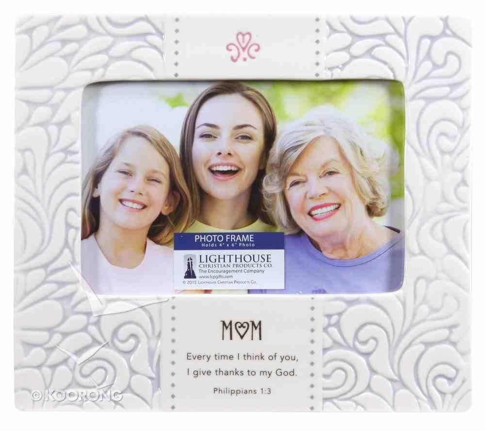 Ceramic Photo Frame Stamped Words: Mum White (Phil 1:3) Homeware