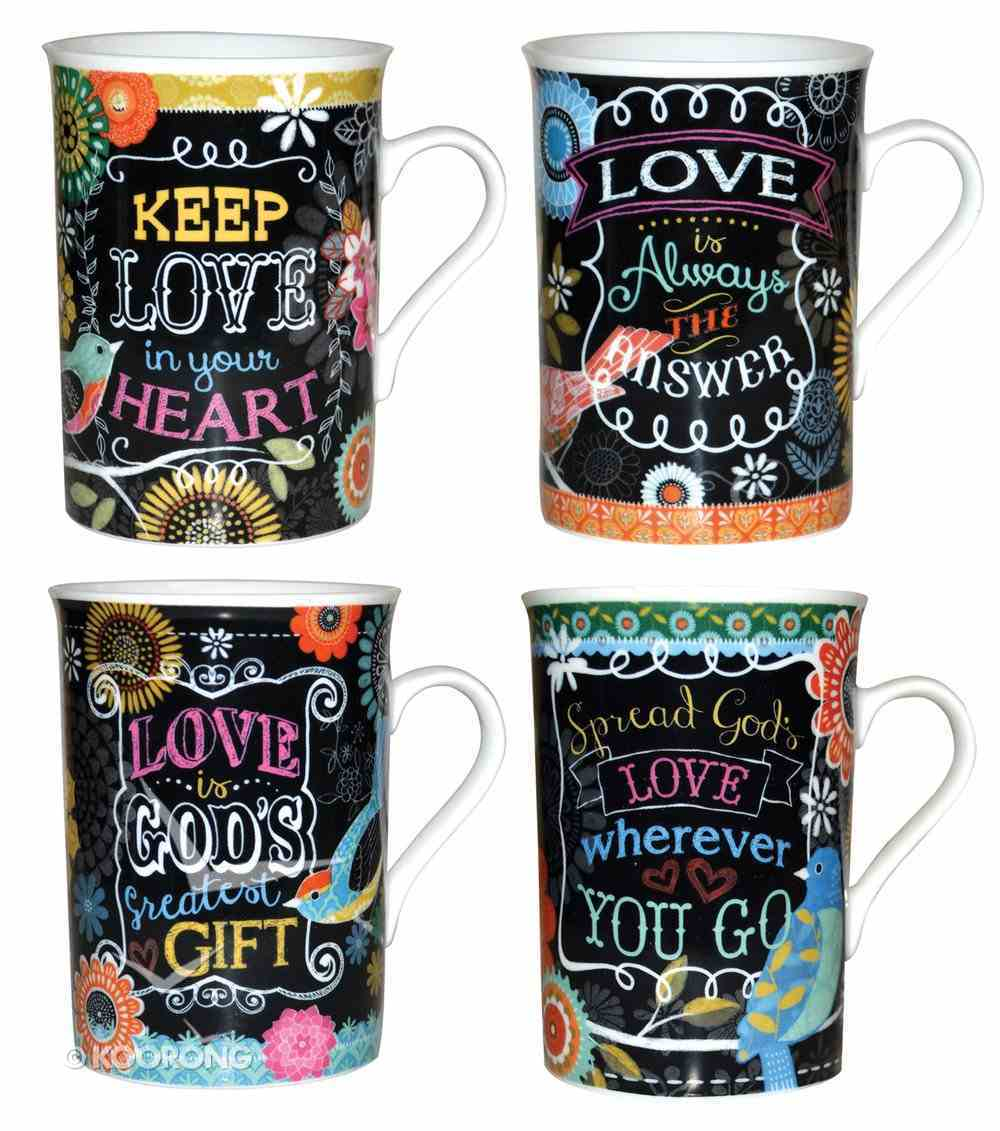 Ceramic Mugs (Set of 4) (Chalk Bird Collection) Box
