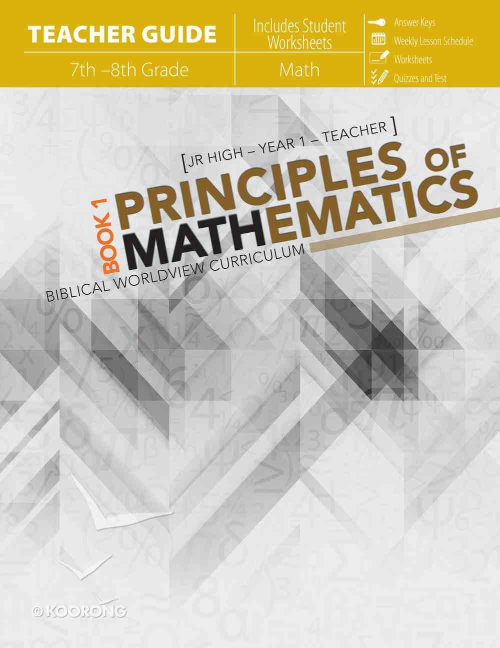 Principles of Mathematics Book 1 (Teachers Guide) Paperback