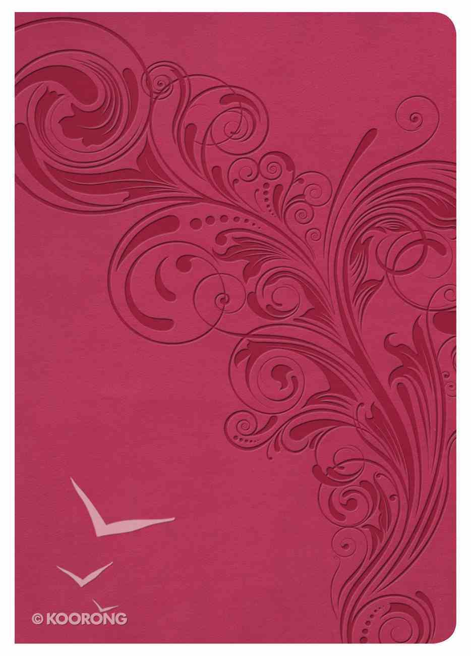 NKJV Large Print Compact Reference Bible Pink Indexed Imitation Leather