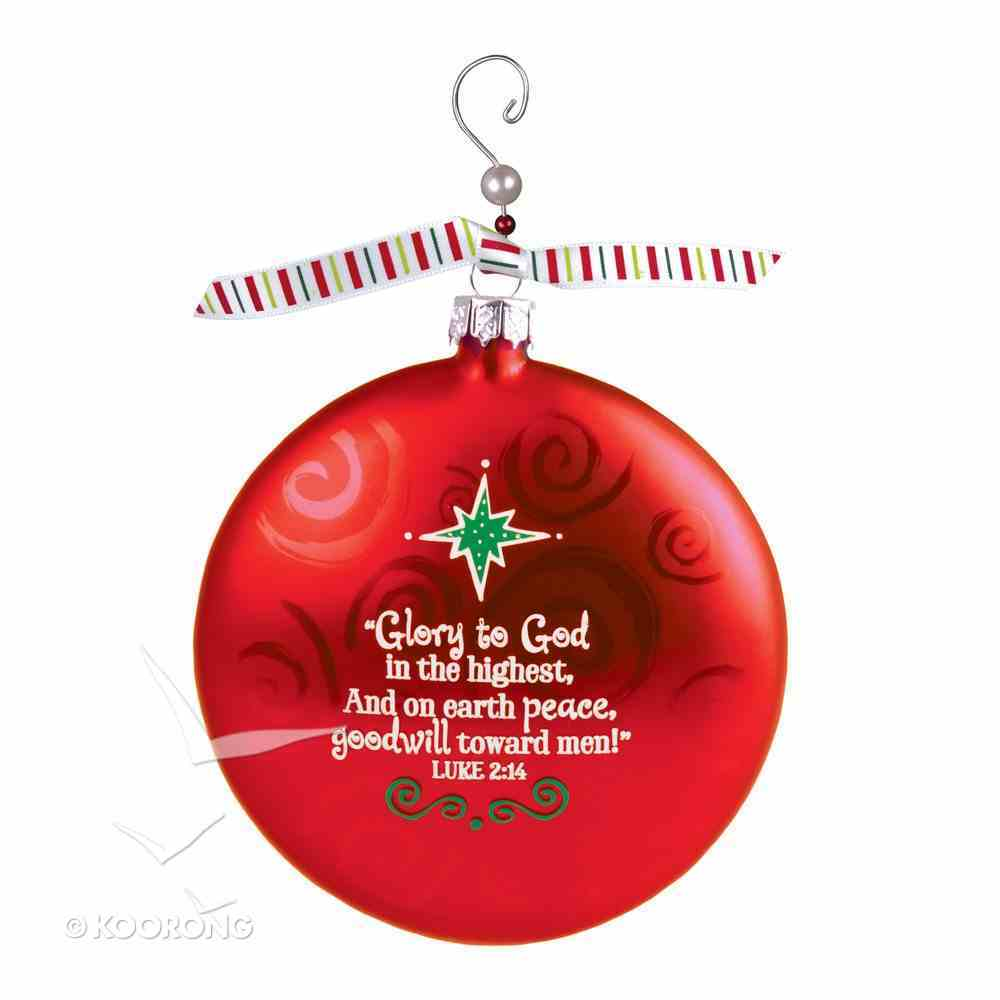 Christmas Glass Swirl With Beaded Hanger Ornament: Peace, Red (Luke 2:14) Homeware