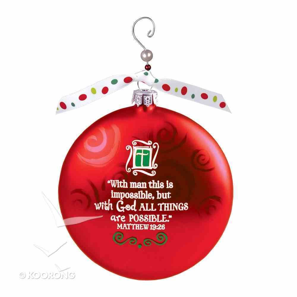 Christmas Glass Swirl With Beaded Hanger Ornament: Faith, Red (Matthew 19:26) Homeware