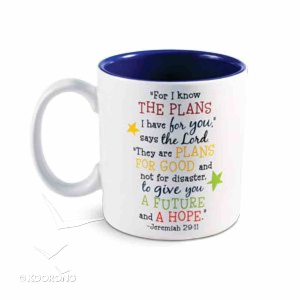 Ceramic Mug: Colorful Graduate Jeremiah 29:11 (White/blue) Homeware