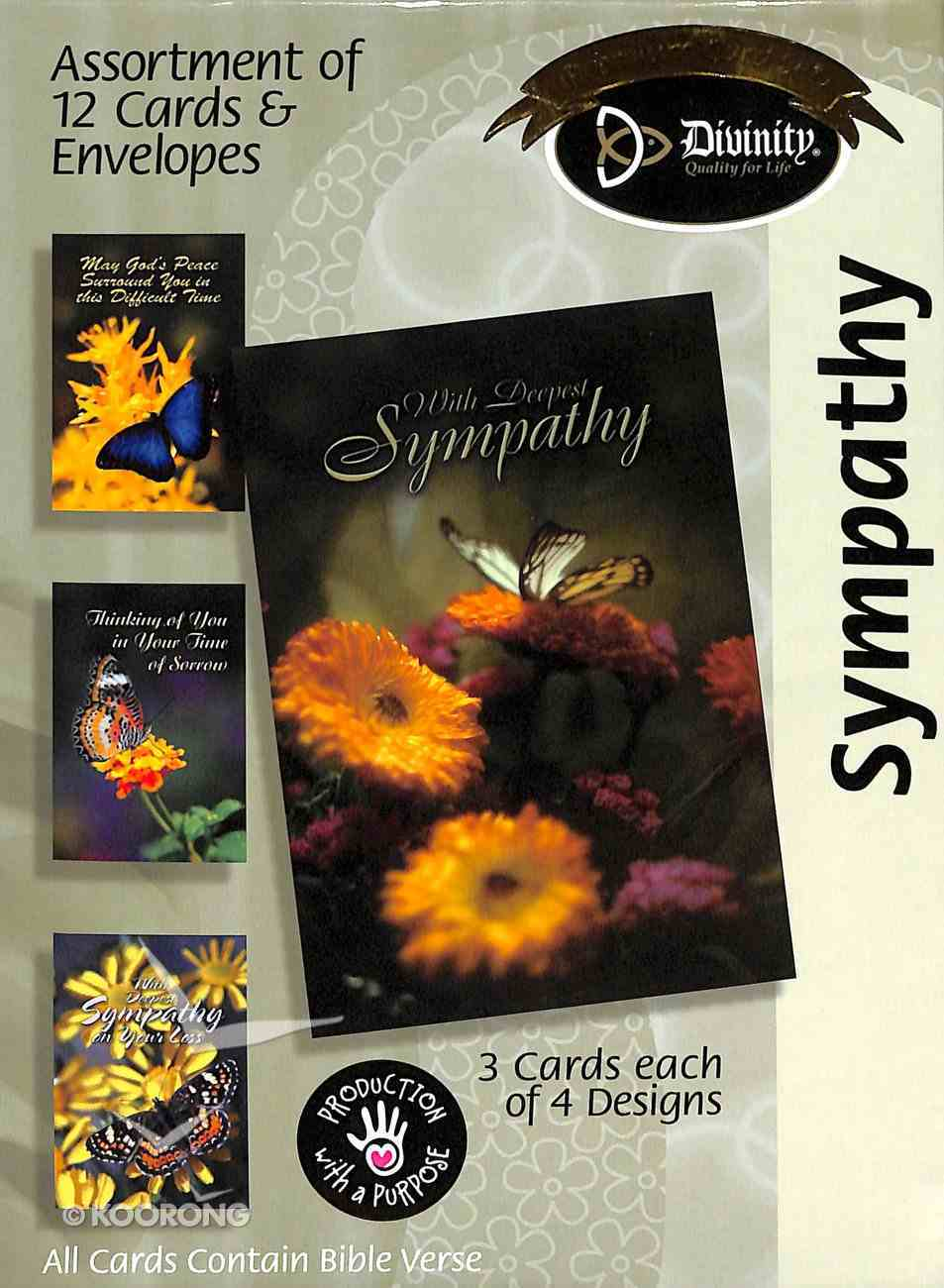 Boxed Cards Sympathy: Flowers & Butterflies Box