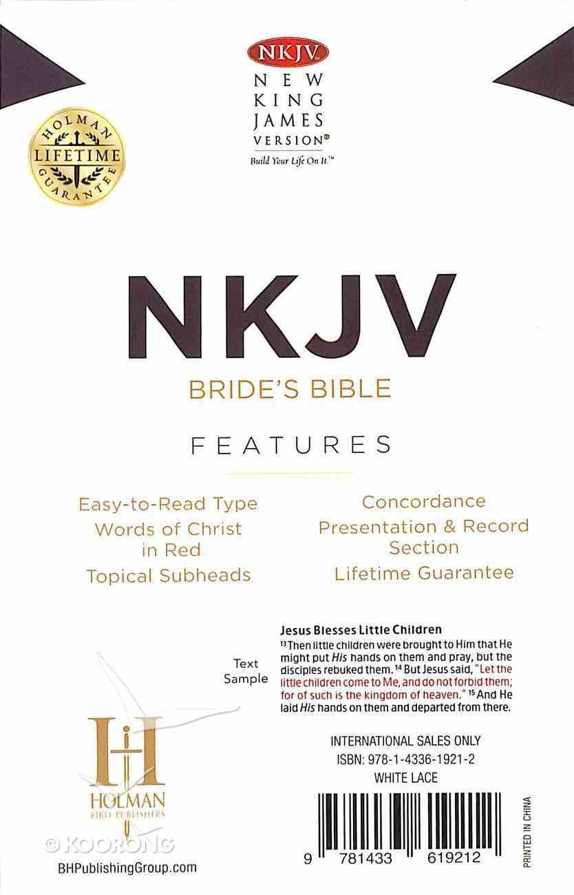 NKJV Brides Bible White Lace Floral Cover Design Imitation Leather