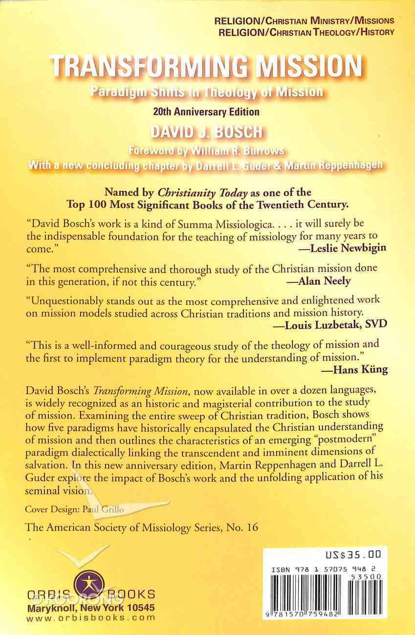 Transforming Mission: Paradigm Shifts in Theology of Mission Paperback
