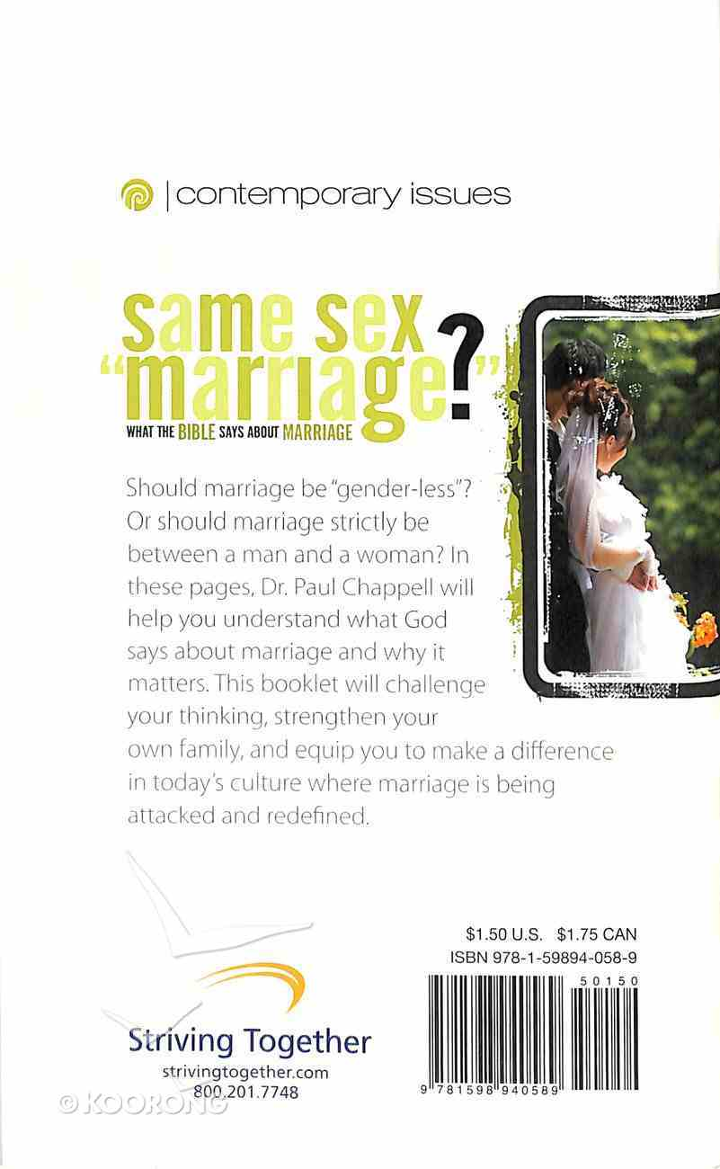 """Same Sex """"Marriage"""" (Contemporary Issues Series) Booklet"""