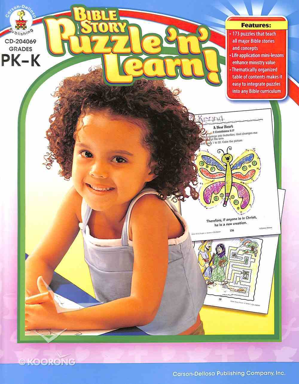Bible Story Puzzle 'N' Learn!: Grades Pk-K Paperback