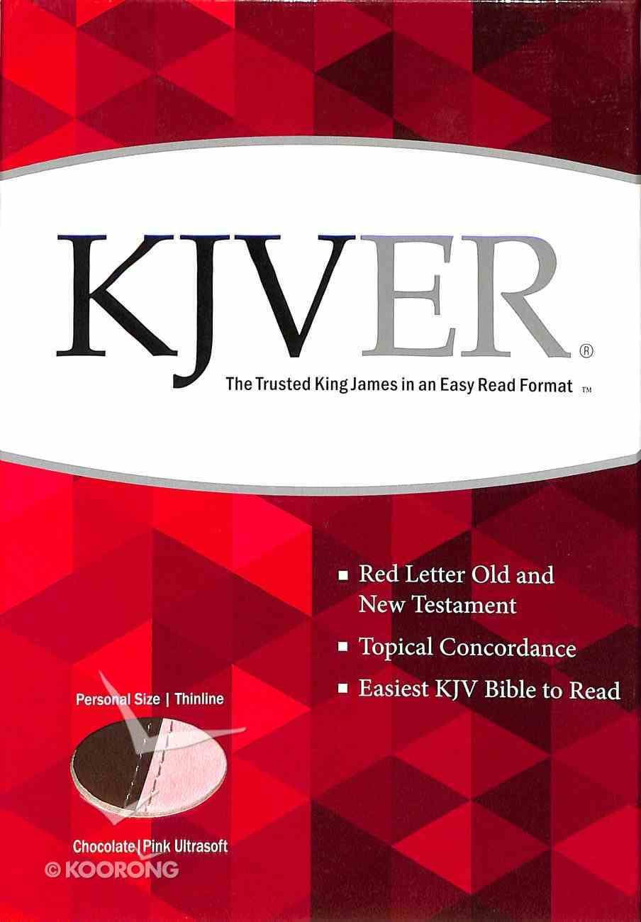 Kjver Thinline Personal Size Bible Chocolate/Pink Imitation Leather