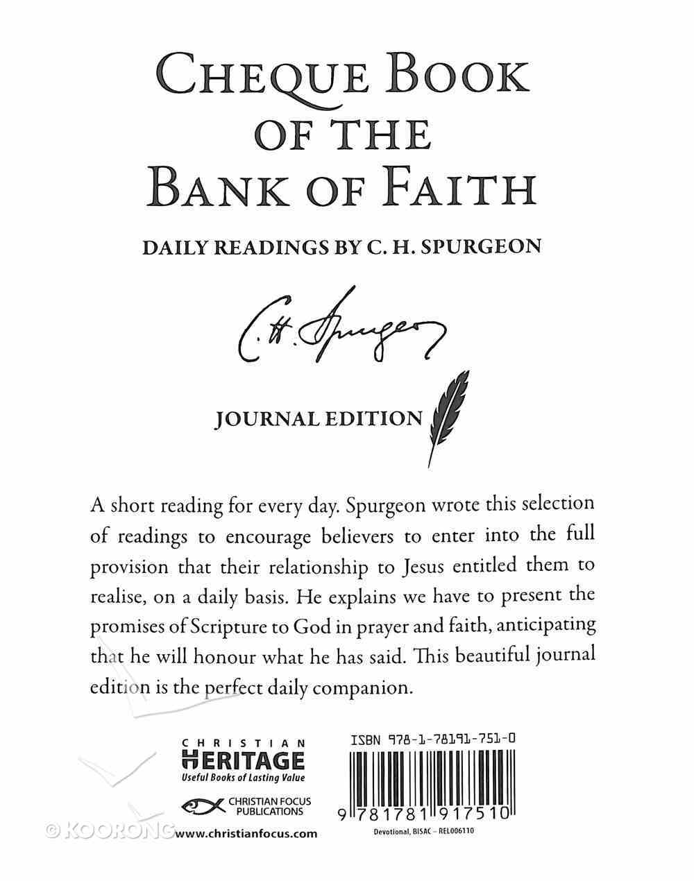 Chequebook of the Bank of Faith: Daily Readings Journal Edition Hardback