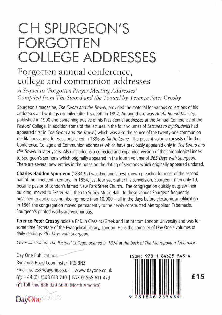 C H Spurgeon's Forgotten College Addresses (Volume 2) (Spurgeon Forgotten Treasures Series) Hardback