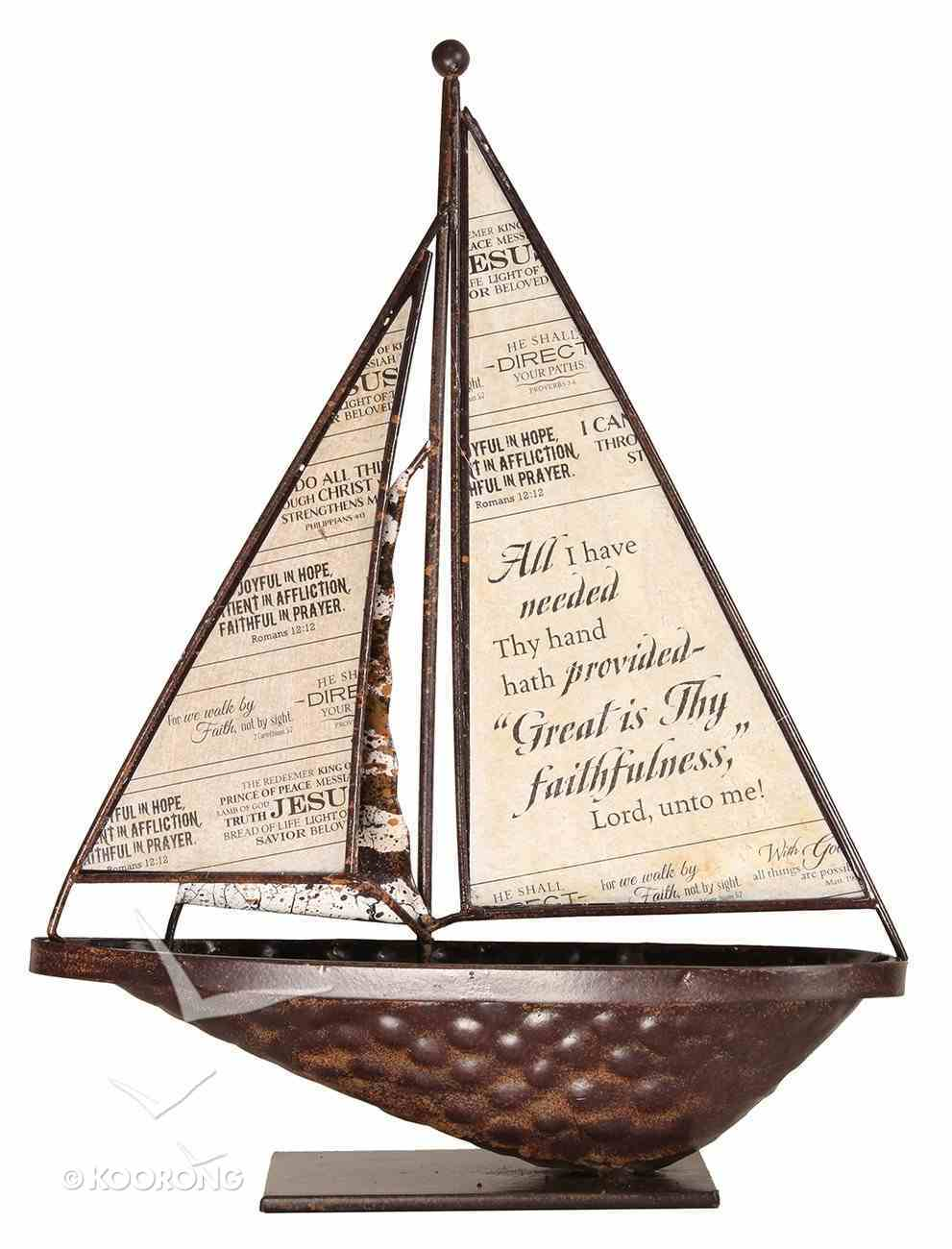 Sailboat Metal Tabletop: Great is Thy Faithfulness Homeware