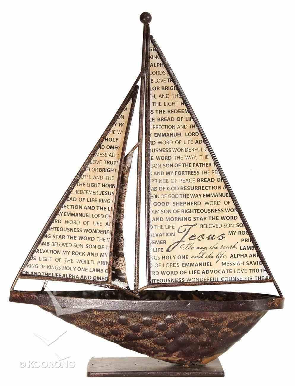 Sailboat Metal Tabletop: Name of Jesus Homeware