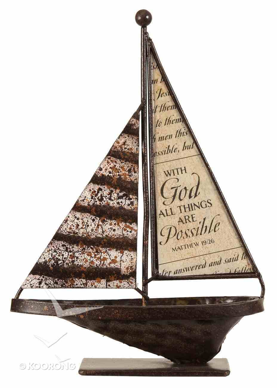 Sailboat Metal Tabletop: With God All Things Are Possible Homeware
