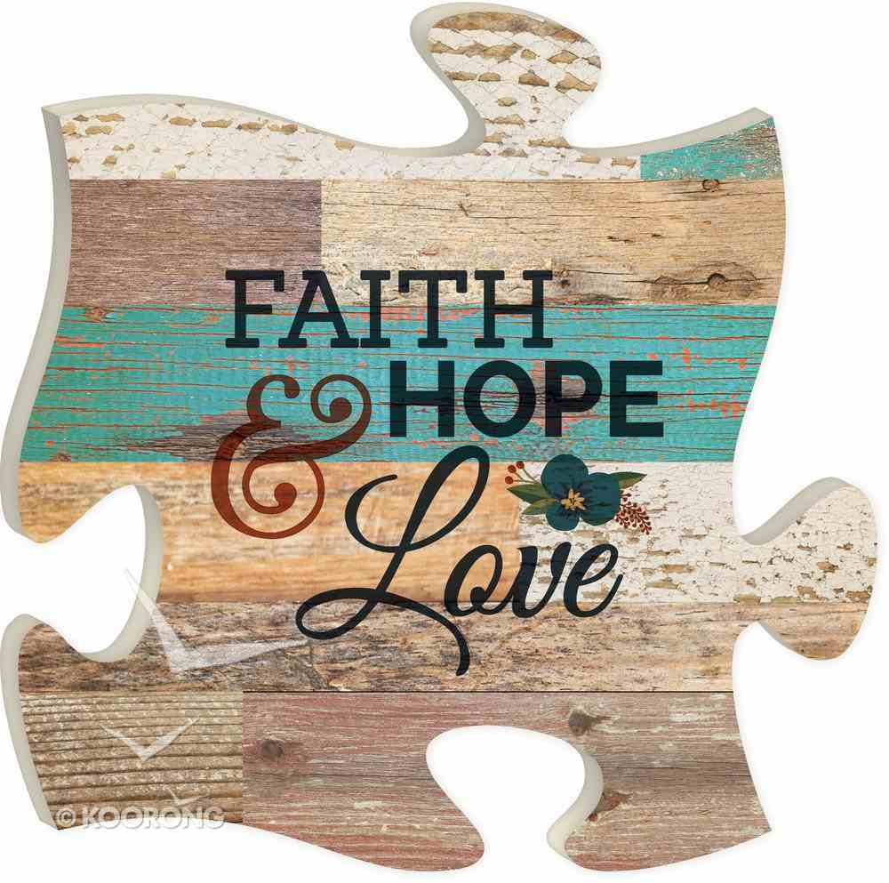 Puzzle Pieces Wall Art: Faith, Hope, Love Plaque