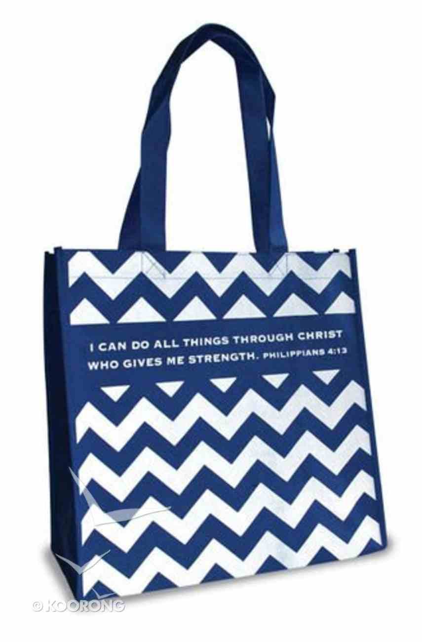 Eco Totes: I Can Do All Things, Chevron Navy With Navy Sides Soft Goods