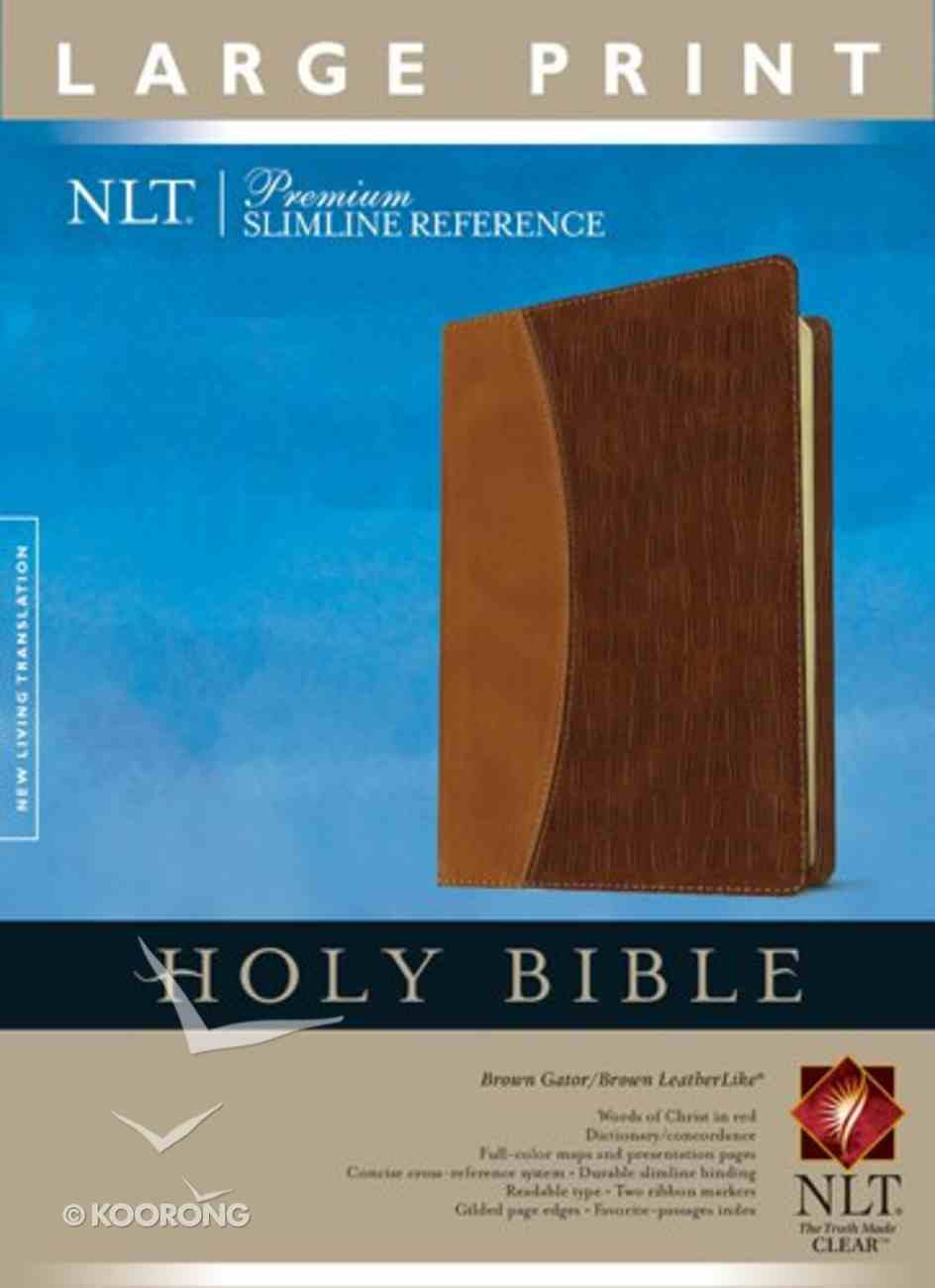 NLT Slimline Large Print Brown/Light Brown Gator (Red Letter Edition) Imitation Leather